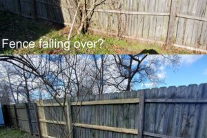 fence repair before and after by z line handyman services